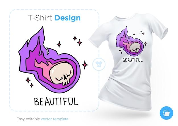 Teschio volante per il design della maglietta.