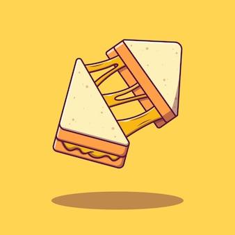 Fetta volante di panino al formaggio fuso