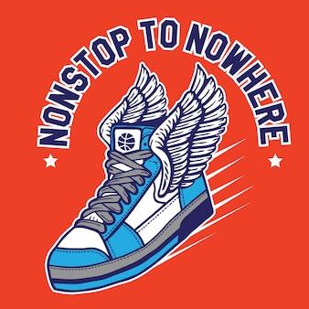 Sneakers volanti con le ali senza sosta verso il nulla