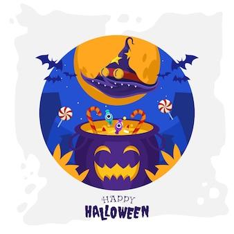 Cappello da strega volante sul calderone sorridente pieno di caramelle nella felice notte di halloween