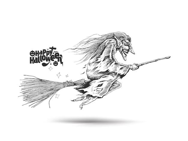 Strega volante con testo di halloween felice, illustrazione vettoriale di schizzo disegnato a mano.