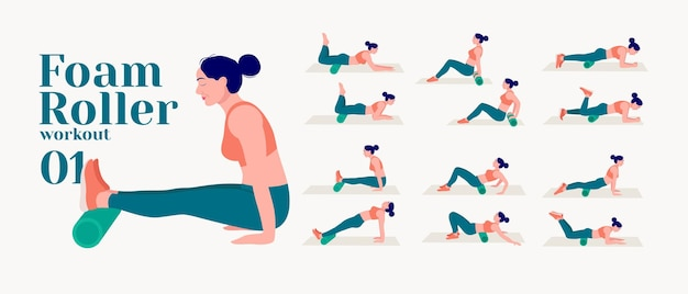 Allenamento con rullo di schiuma donne che fanno esercizi di fitness e yoga