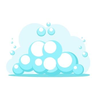 Il vettore di bolle d'acqua di schiuma per l'elemento di lavaggio isola l'immagine clipart del fumetto piatto