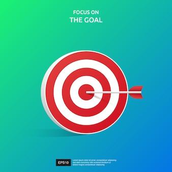 Concentrati sull'icona dell'obiettivo. concetto di successo