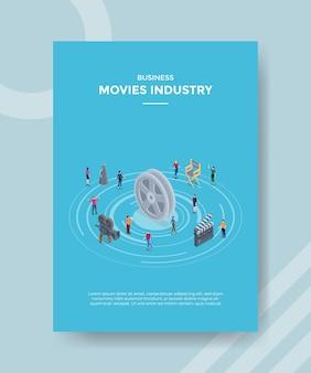 Focus group discussione sul concetto di industria cinematografica per banner modello e volantino con vettore di stile isometrico