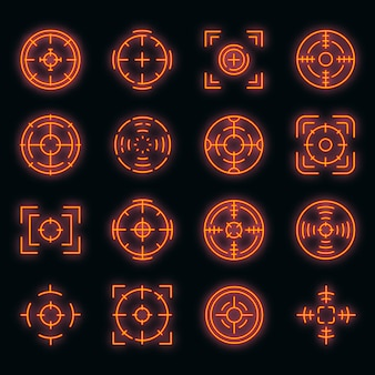 Icone di messa a fuoco impostate. contorno set di icone vettoriali di messa a fuoco colore neon su nero