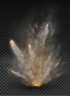 Esplosione di fumo e nebbia isolato su sfondo trasparente