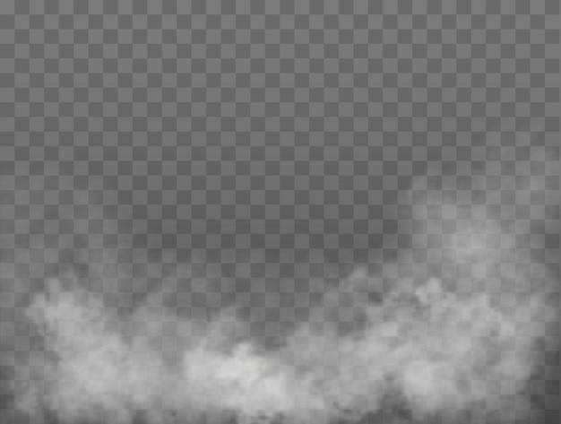 Effetto speciale trasparente nebbia o fumo sfondo bianco nebbia o smog vettoriale