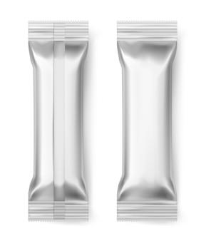 Bastoncini di alluminio. pacchetto dell'alimento del dessert dello spuntino del biscotto della caramella di cioccolato dell'involucro del pacchetto sigillato alluminio in bianco, 3d realistico