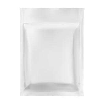 Bustina di alluminio sacchetto di plastica modello vettoriale mockup bianco confezione con cerniera argento