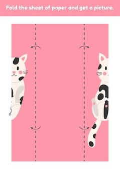 Piega il foglio di carta e ottieni una foto simpatico cartone animato gatto divertente gioco educativo per bambini foglio di lavoro per la scuola materna e l'età prescolare sviluppo abilità motorie fini