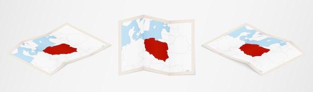 Mappa piegata della polonia in tre diverse versioni.