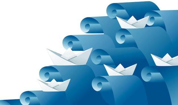 Barche di carta piegate sulle onde dell'acqua che seguono l'illustrazione piana di vettore di concetto astratto del capo.