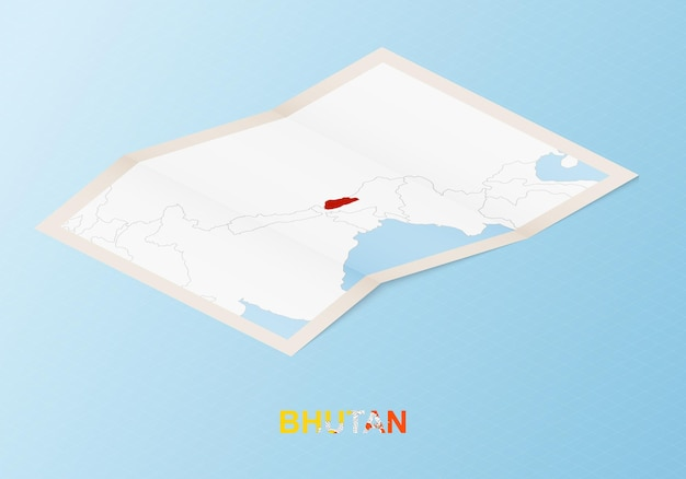 Mappa cartacea piegata del bhutan con i paesi vicini in stile isometrico.