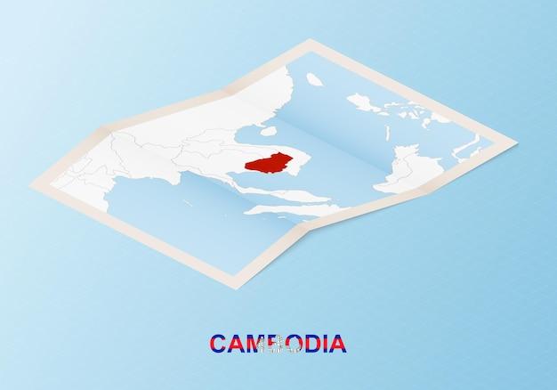 Mappa cartacea piegata della cambogia con i paesi vicini in stile isometrico.