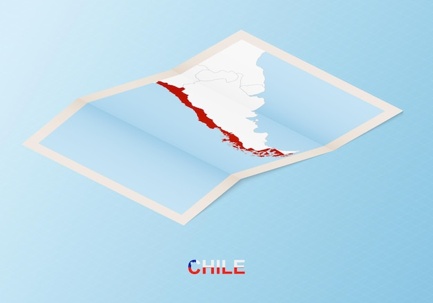 Mappa cartacea piegata del cile con i paesi vicini in stile isometrico.