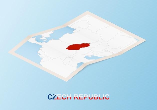 Mappa cartacea piegata della repubblica ceca con i paesi vicini in stile isometrico.