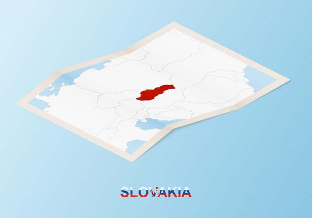 Mappa cartacea piegata della slovacchia con i paesi vicini in stile isometrico.