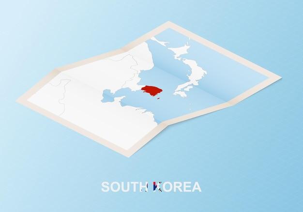 Mappa cartacea piegata della corea del sud con i paesi vicini in stile isometrico.