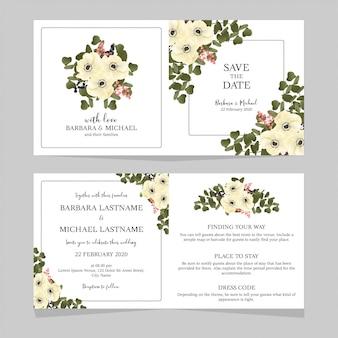 Invito a nozze piegato con bouquet di anemone