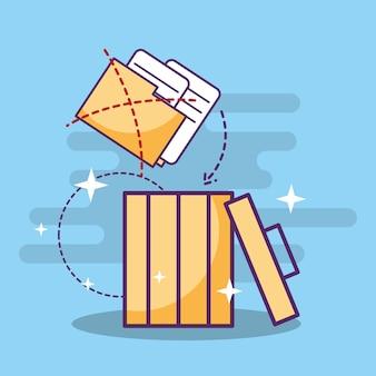 File di cartelle documenti sul cestino