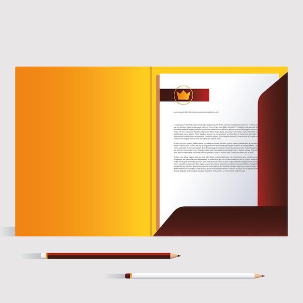 Cartella e matite, modello di identità aziendale su sfondo bianco illustrazione