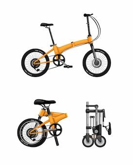 Bicicletta pieghevole, icona di simbolo di bicicletta pieghevole imposta fumetto di concetto realistico su priorità bassa bianca