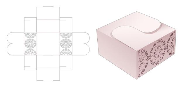 Scatola pieghevole con modello fustellato a forma di mandala a forma di cerchio stampato