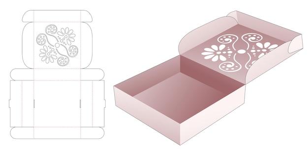 Scatola per pizza pieghevole con modello fustellato a mandala stampato