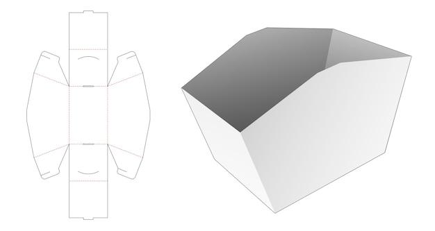 Modello fustellato di scatola contenitore snack pieghevole