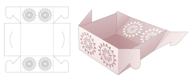 Vassoio pieghevole con modello fustellato mandala stencil