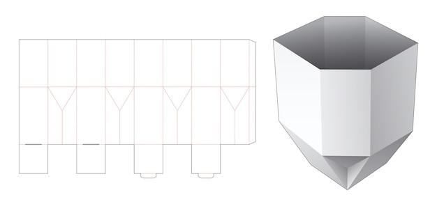 Modello fustellato di contenitore per snack dalla forma unica pieghevole