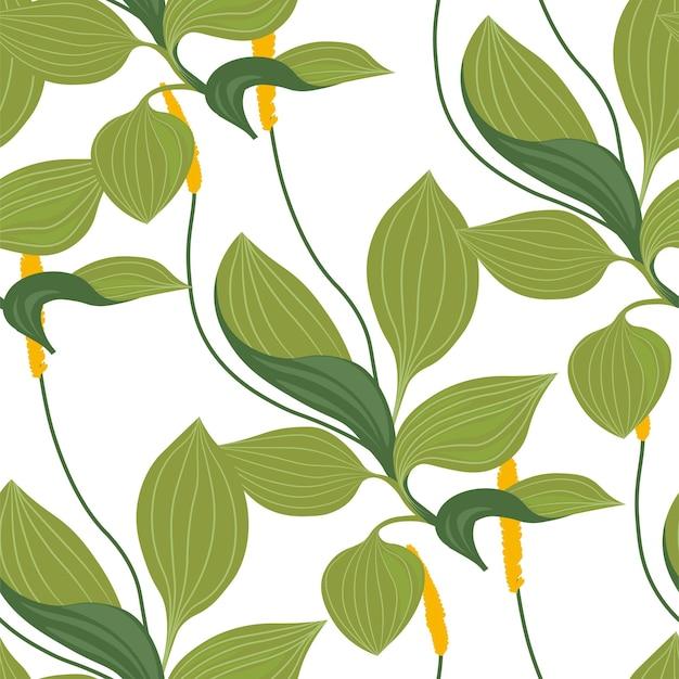 Motivo decorativo con foglie e rami di foglie