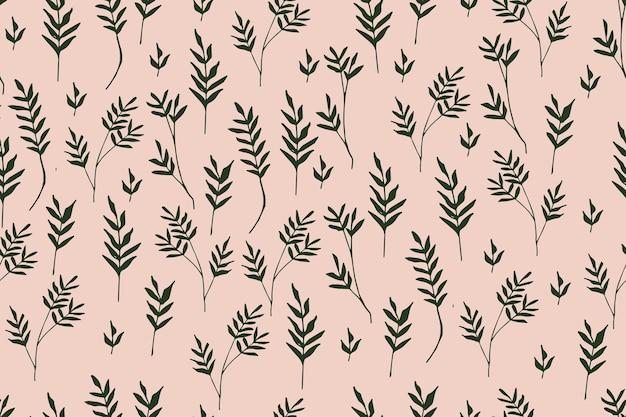 Motivo floreale vintage fogliame su sfondo pastello reticolo senza giunte botanico disegnato a mano