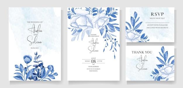 Modello di invito a nozze fogliame impostato con bouquet floreale blu e decorazione botanica del bordo