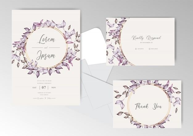 Modello dell'insieme di carte dell'invito di nozze dell'acquerello della corona del fogliame
