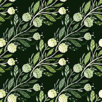 Modello senza cuciture del mazzo popolare nello stile creativo di scarabocchio. ornamento di fogliame verde con fiori.