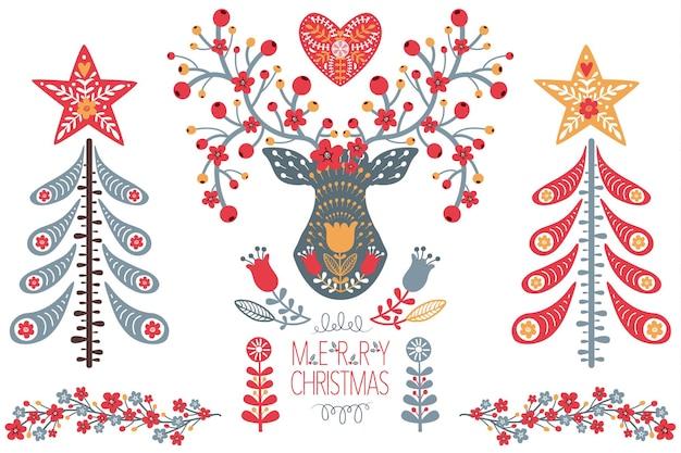 Folk christmas art design set