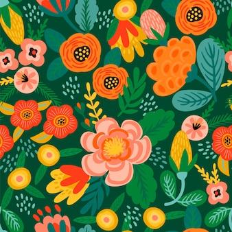 Modello senza cuciture floreale folk. disegno astratto moderno