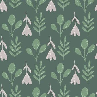 Reticolo senza giunte di doodle di sagome di fiori e rami folk. stampa vintage pallida nei colori verdi. illustrazione di riserva.