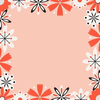 Sfondo e carta da parati con cornice di fiori folk, illustrazione primaverile, design grafico primaverile
