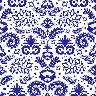 Folk tatar blue ornament seamless pattern illustration