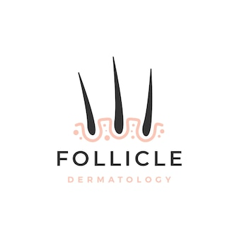 Modello di logo di dermatologia dei capelli del follicolo