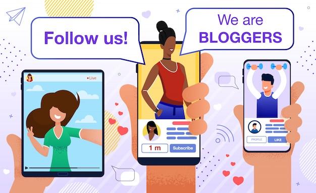 Segui la promozione della motivazione di blogger piatta
