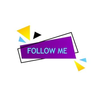 Seguimi su sfondo luminoso con elementi casuali. modello per post sui social media, banner per abbonati per blog. illustrazione vettoriale.
