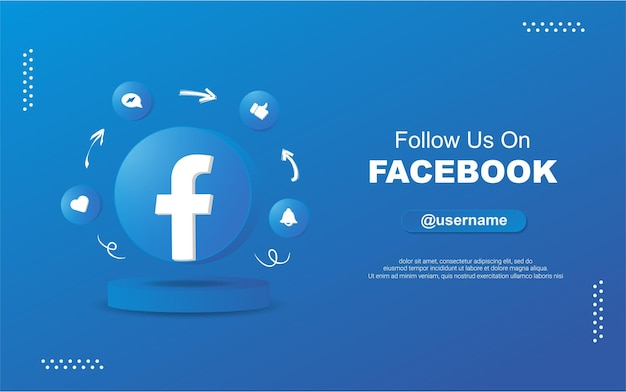 Seguici su facebook per i social media nelle icone di notifica del cerchio rotondo 3d