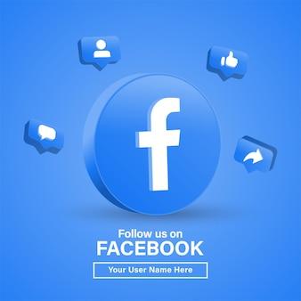 Seguici su facebook con il logo 3d nel cerchio moderno per i loghi delle icone dei social media o unisciti a noi banner