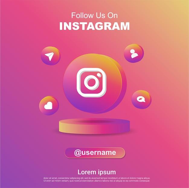 Seguici su instagram social media banner quadrato con logo 3d