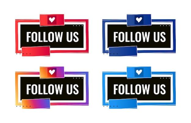 Seguici modello di banner di social media con il cuore
