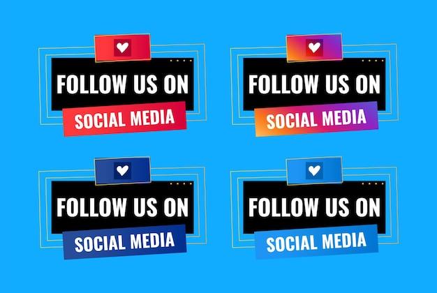 Seguici sul design dei banner per la celebrazione dei social media
